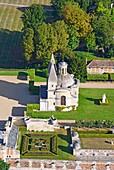 France, Eure et Loir, Chateau d'Anet, 16th century Renaissance castle commissioned by Henry II to Diane de Poitiers (aerial view)