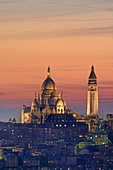 France, Paris, the Basilica of the Sacre Coeur on the hill of Montmartre