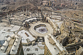 The Hajj annual Islamic pilgrimage to Mecca, Saudi Arabia, the holiest city for Muslims. Aerial view.