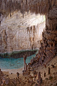 Flooded limestone cave interior with many stalactites and stalagmites and reflections, Drach caves (Cuevas del Drach), Mallorca, Balearic Islands, Spain, Mediterranean, Europe