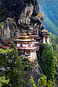Tiger's Nest Monastery, a sacred Vajrayana Himalayan Buddhist site located in the upper Paro valley in Bhutan, Asia