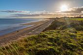 View of Bridlington from North Beach shoreline, Bridlington, North Yorkshire, England, United Kingdom, Europe