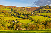 View of Hathersage and countryside autumnal colours, Derbyshire Peak District, Derbyshire, England, United Kingdom, Europe