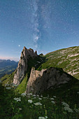 Milky way over Saxer Lucke mountain peak in summer, Appenzell Canton, Alpstein Range, Switzerland, Europe