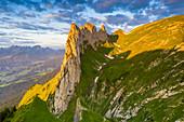 Sunrise on rocky peak of Saxer Lucke mountain in summer, Appenzell Canton, Alpstein Range, Switzerland, Europe