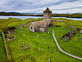 Aerial of St. Clements Church, Rodel, Isle of Harris, Outer Hebrides, Scotland, United Kingdom, Europe