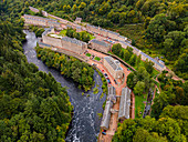Aerial of the industrial town of New Lanark, UNESCO World Heritage Site, Scotland, United Kingdom, Europe