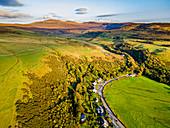 Aerial of Uig bay, Isle of Skye, Inner Hebrides, Scotland, United Kingdom, Europe