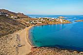 Aerial of Agios Sostis beach, Mykonos, Cyclades, Greek Islands, Greece, Europe