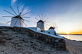 The Windmills (Kato Milli) at sunset, Horta, Mykonos, Cyclades, Greek Islands, Greece, Europe