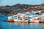 Little Venice at sunset, Horta, Mykonos, Cyclades, Greek Islands, Greece, Europe