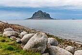 Huge monolith in the UNESCO World Heritage Site, the Vega Archipelago, Norway, Scandinavia, Europe
