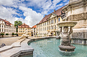 Fountain in front of the Prince-Bishop's Residence in Eichstaett, Upper Bavaria, Bavaria, Germany