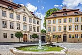 Historic houses and fountains on Residenzplatz in Eichstaett, Upper Bavaria, Bavaria, Germany