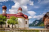Pilgrimage Church of St. Bartholomä am Koenigssee, Upper Bavaria, Bavaria, Germany