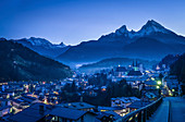 Berchtesgaden with Watzmann at the blue hour, Upper Bavaria, Bavaria, Germany