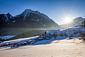 Winter landscape in the Berchtesgaden Alps above Ramsau, Upper Bavaria, Bavaria, Germany