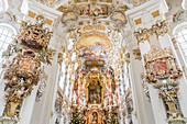 Baroque interior of the Wieskirche near Steingaden, Upper Bavaria, Bavaria, Germany