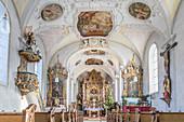 Interior of the St. Nikolaus Church in Unterammergau, Upper Bavaria, Bavaria, Germany