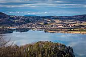 View of Schlehdorf am Kochelsee from Kesselbergstrasse, Kochel am See, Upper Bavaria, Bavaria, Germany