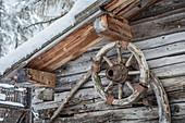 Old wagon wheel at the Badlalm in limestone, Innervillgraten, Villgratental, East Tyrol, Tyrol, Austria