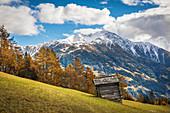 Blick von Zedlach zum Iseltal mit Rotenkogel (2.762 m), Virgental, Osttirol, Tirol, Österreich