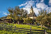 Village center of Obermauern with pilgrimage church Maria Schnee, Virgental, East Tyrol, Tyrol, Austria