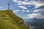 Summit cross of the Seefelder Spitze (2,220 m), Seefeld in Tirol, Tyrol, Austria