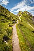 Ascent to the summit cross of the Seefelder Spitze (2,220 m), Seefeld in Tirol, Tyrol, Austria