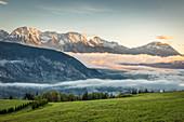 Sunrise over the Inn Valley from Haimingerberg, Tyrol, Austria
