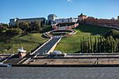 Chkalov stairs leading from the Volga River to Minin and Pozharsky Square, Nizhny Novgorod, Nizhny Novgorod District, Russia, Europe