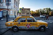 Cafe advertising on old car at the end of the pedestrian zone, Nizhny Novgorod, Nizhny Novgorod District, Russia, Europe