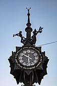 Decorative clock on Baumana Street in the city center, Kazan, Kazan District, Republic of Tatarstan, Russia, Europe
