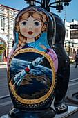 Oversized matryoshka doll is used as a souvenir stand in the pedestrian zone, Samara, Samara District, Russia, Europe