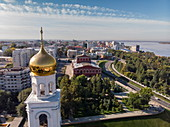 Running view of the bell tower in the Iversky convent, Samara, Samara District, Russia, Europe