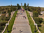 Running view of the stairs leading to the Mamayev Kurgan memorial complex and the huge Motherland Ruf statue, Volgograd, Volgograd District, Russia, Europe