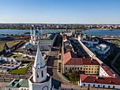 Aerial view of Kazan Kremlin, Kazan, Kazan District, Republic of Tatarstan, Russia, Europe