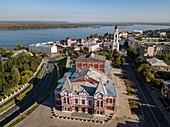 Aerial view of Samara Academic Drama Theater and Volga River, Samara, Samara District, Russia, Europe