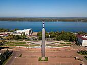 Aerial view of Monument of Glory on Slavy Square and Volga River, Samara, Samara District, Russia, Europe