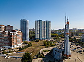 Aerial view from the Soyuz launchers monument, Samara, Samara District, Russia, Europe