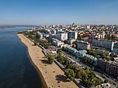Aerial view of beach along Volga river and city, Samara, Samara District, Russia, Europe