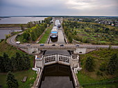 Aerial view of the river cruise ship Excellence Katharina (formerly MS General Lavrinenkov) in the Uglich lock on the Volga River, Uglich, Yaroslavl District, Russia, Europe