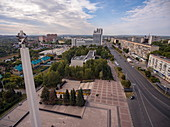 Aerial view of obelisk and WWII monument, Ulyanovsk, Ulyanovsk District, Russia, Europe