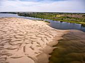 Aerial view of sandbar in the Volga River, near Sady I Dachi, Ostrakhan District, Russia, Europe