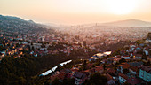 Aerial view of Sarajevo cityscape during sunset