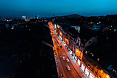 Aerial view of traffic on street in Sarajevo city