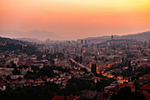 View of Sarajevo cityscape at dusk