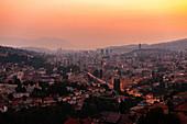 View of Sarajevo cityscape at dusk