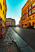 View of street with buildings in Prague city