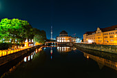 View of Bode Museum and Fernsehturm Berlin reflecting in River Spree